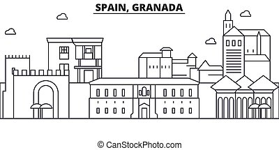 Spain, Granada architecture line skyline illustration....