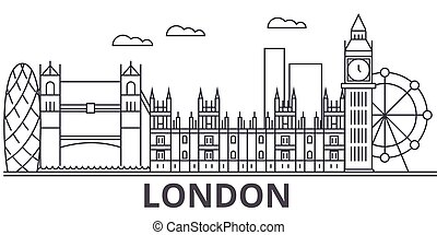 London architecture line skyline illustration. Linear vector...