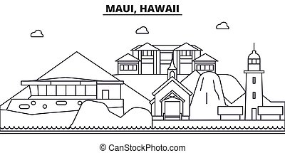 Maui, Hawaii architecture line skyline illustration. Linear...