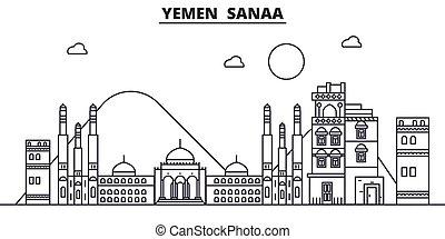 Yemen, Sanaa architecture line skyline illustration. Linear...