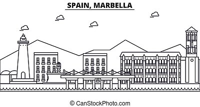Spain, Marbella architecture line skyline illustration....