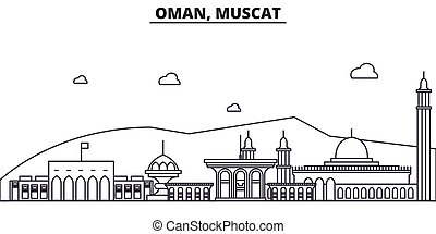 Oman, Muscat architecture line skyline illustration. Linear...