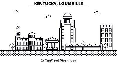 Kentucky, Louisville architecture line skyline illustration....