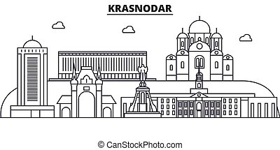 Russia, Kransodar architecture line skyline illustration....