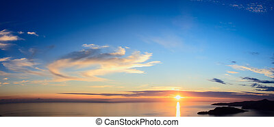 Panorama of sunset over sea - Majestic sunset over sea View...