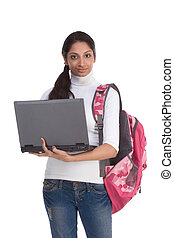 ethnic Indian College student with laptop PC - ducation...
