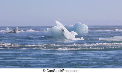 Icebergs floating on the North Atlantic Ocean near the...