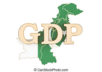 gross domestic product GDP of Pakistan concept, 3D rendering...