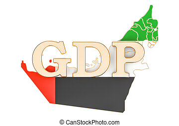 gross domestic product GDP of UAE concept, 3D rendering...