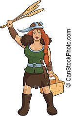 Viking girl herbalist - Vector red hair woman with cereals...