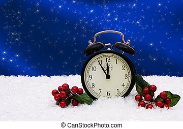 Winter Time - A black vintage face clock sitting on snow...