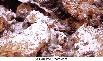 Oatmeal cookies with sugar powder - Stack of homemade...