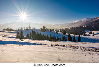 sun burst over the beautiful winter landscape. stunning...
