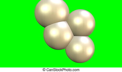 Mass increase animation on green screen, increasing molecules represented of 3d balls. Reproduction of yeasts or organic cells.