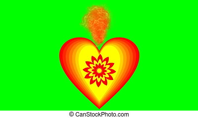 Burning heart on green screen. Animation of love symbol in cheerful vivid colors red and yellow. Beautiful Valentines day video.
