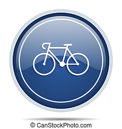 Bicycle blue round web icon. Circle isolated internet button...