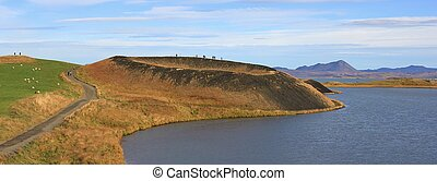 Skutustadagigar, volcanic pseudocraters at lake Myvatn,...