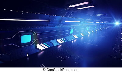 """Diagonal blue tunnel ride"" - ""Sci-fi 3d rendering of a dark..."