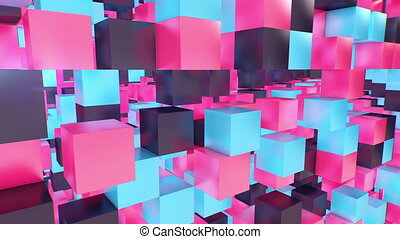 """Multilayered 3d cube background"" - ""Holographic 3d cube..."