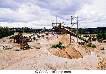 Aerial drone view on sand quarry - Aerial drone view on...