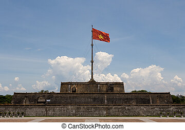 Vietnam Flag - Vietnam flag on historic Hue Citadel
