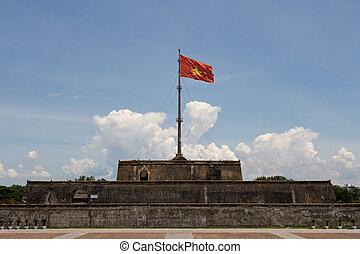 Vietnam Flag - Vietnam flag on historic Hue Citadel