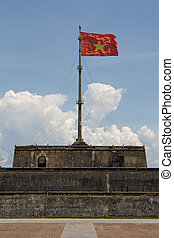 Vietnam Flag Portrait - Vietnam flag standing on flag pole...
