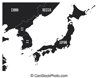 Political map of Korean and Japanese region, South Korea,...