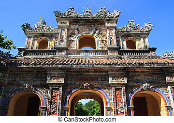 Vietnam Citadel Gate - Historic colorful city gate to...