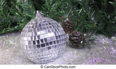 New Year mirror ball against the background of decorated...