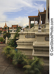 Cambodia Palace - The Royal Palace grounds in Phnom Phen,...