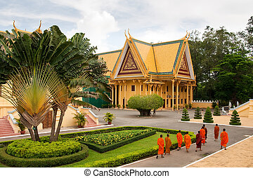 Cambodia Monks - Monks tour the Royal Palace grounds in...