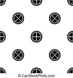 White round window pattern seamless black - White round...