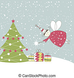 Christmas card with angel. Vector illustration - Christmas...