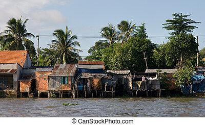 Mekong, río, Chozas
