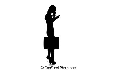 Girl with case and phone in hand. White background....