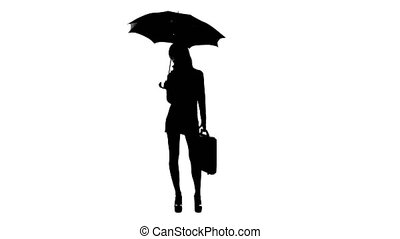Girl with an umbrella holds a briefcase in her hand. White...