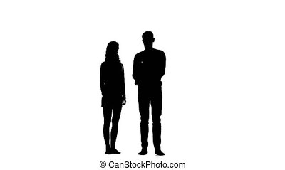 Pair of lovers under an umbrella. White background....