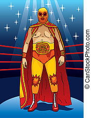 Wrestler - Illustration of a professional wrestler standing...