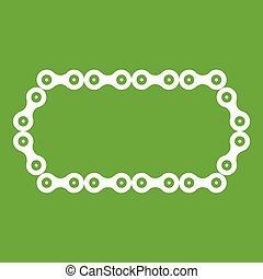 Bicycle chain icon green - Bicycle chain icon white isolated...
