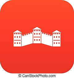 Great Wall of China icon digital red for any design isolated...
