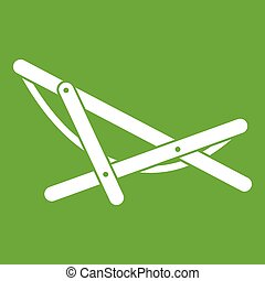 Beach chaise icon green - Beach chaise icon white isolated...