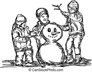 Happy mother and two children building snowman outside in...