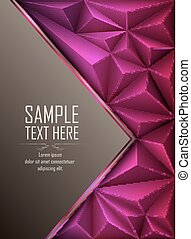 Purple abstract polygonal background with blank space -...
