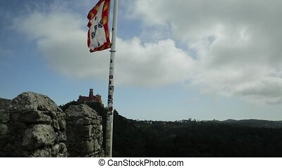 Pena National Palace - Aerial view of Pena Palace on top of...