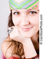 young hippie woman - closeup portrait of beautiful young...