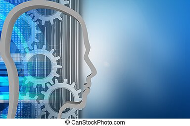 3d digital - 3d illustration of gears over blue background...