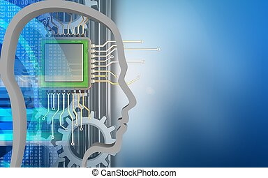3d chip - 3d illustration of chip over blue background with...