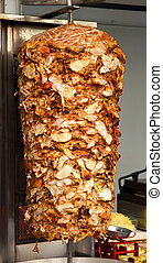 Chicken Doner Kebab - Chicken Cooking on Rotating Vertical...
