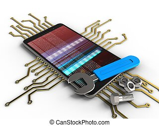3d electronic circuit - 3d illustration of mobile phone over...
